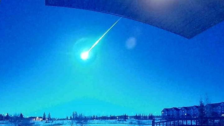 Sky Above Canada Lights Up Blue As Meteor Shoots Past