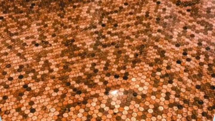Woman Glues 7,700 Pennies To Her Bathroom Floor And Potentially Misses Out On Fortune
