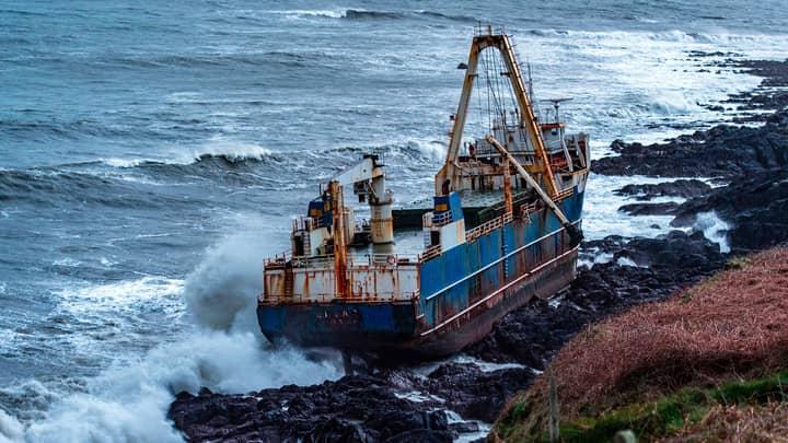Ship Abandoned Since 2018 Washes Up On Coast Of Ireland During Storm Dennis