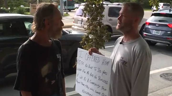 Man Makes Sign And Stands Next To Beggar Who Turned Down His Job Offer