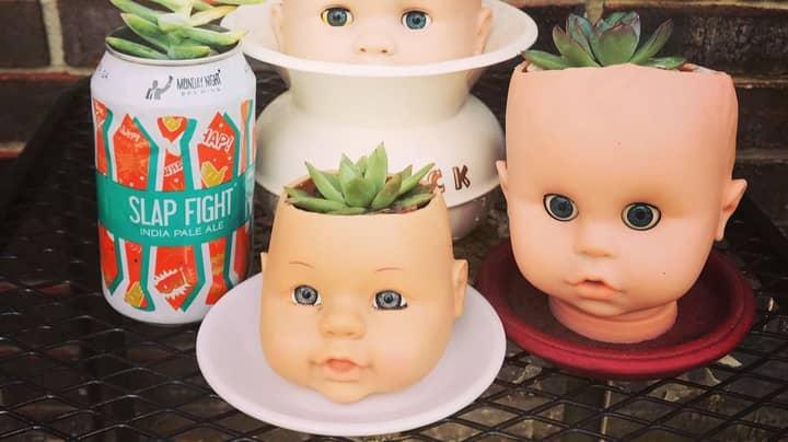 Bizarre Home Decor Trend Involves Recycling Dolls' Heads As Planters