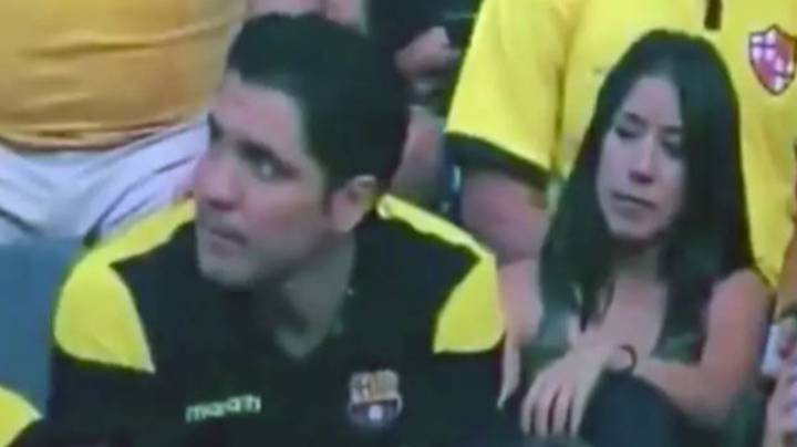 Man Caught Kissing At Football Game Admits He Was Cheating On His Partner