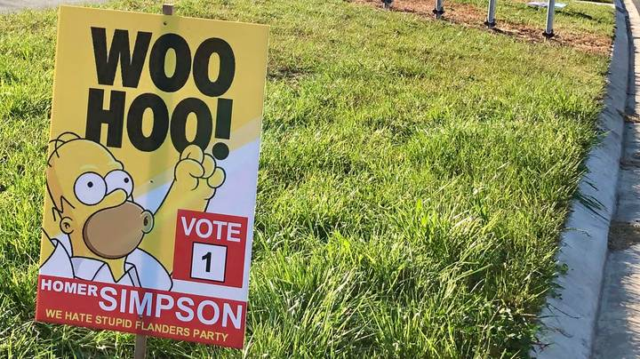 Vote For Homer Simpson Signs Are Popping Up In Canberra Ahead Of Election