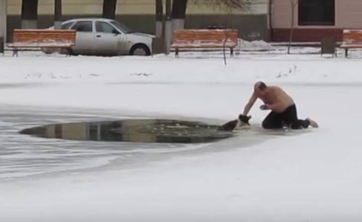 Shirtless Hero Risks Everything In Order To Save Stranded Dog On Frozen Pond