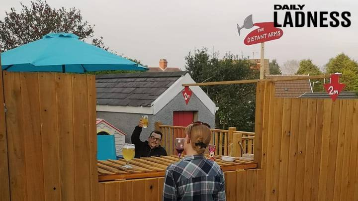 Neighbours Create Social-Distance-Friendly Pub In Garden So They Can Drink Together