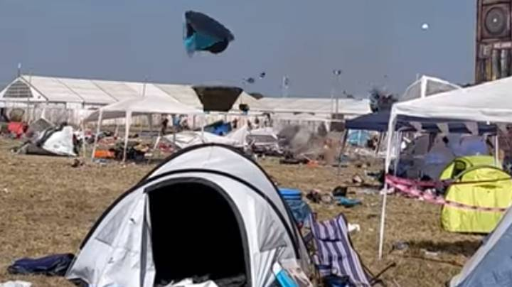 Mini Tornado Sweeps Through German Music Festival Taking Tents Along With It