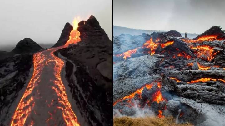 Incredible Drone Footage Shows Volcano Erupting In Iceland