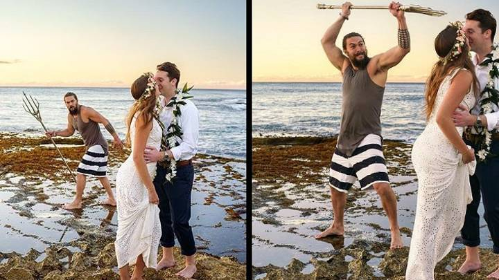 Jason Momoa Crashes Couple's Wedding Photos Carrying An Aquaman Trident