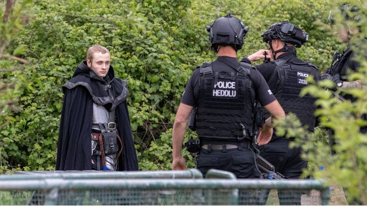 Armed Police Confront Man Dressed As Knight Carrying Toy Sword