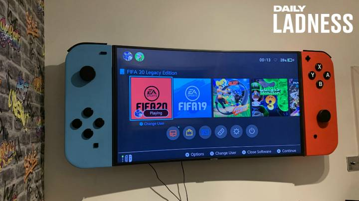 Dad Builds A Gigantic Nintendo Switch For His Son's Bedroom Television