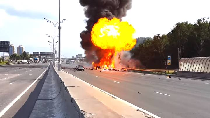 WATCH: Russian Tanker Explodes Over 30 Times In The Middle Of Motorway