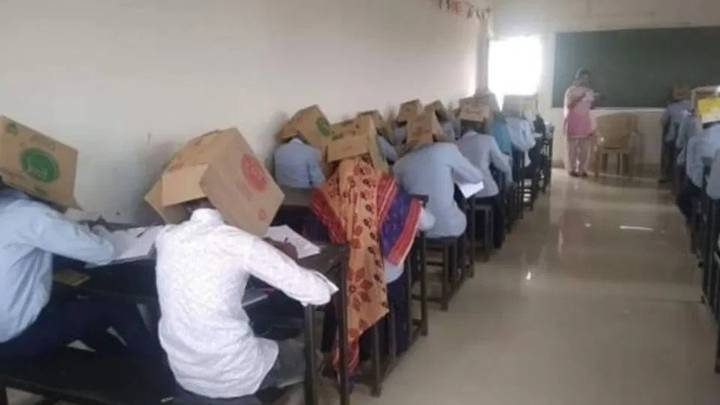 School Asks Students To Wear Boxes On Heads To Stop Cheating