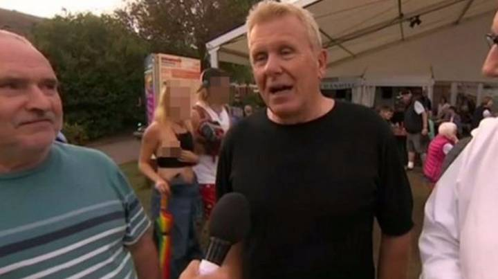 Woman Flashes Breast During Live BBC Interview At Folk Festival