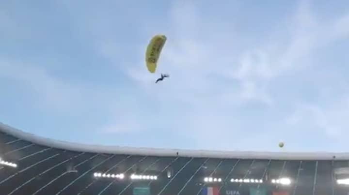 Greenpeace Protester Parachutes Into Stadium Before France Vs Germany Euro 2020 Fixture