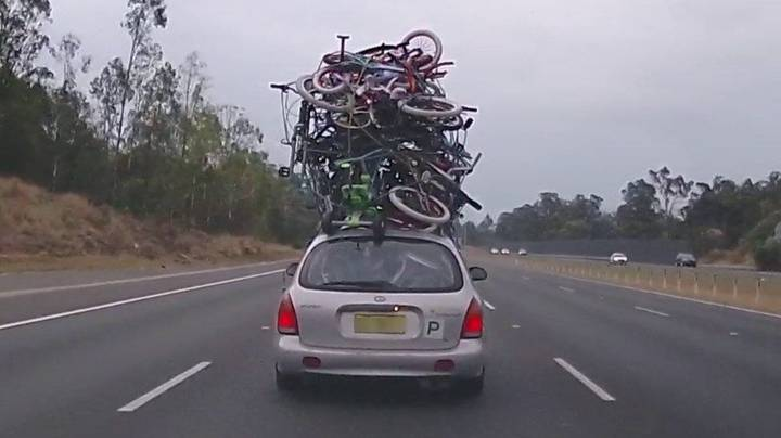 P-Plater Busted Driving With 10 Bicycles On Top Of Car In Australia
