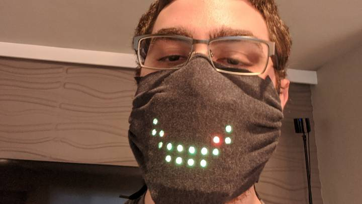 Computer Programmer Creates Voice Controlled Face Mask With Moving LED Mouth