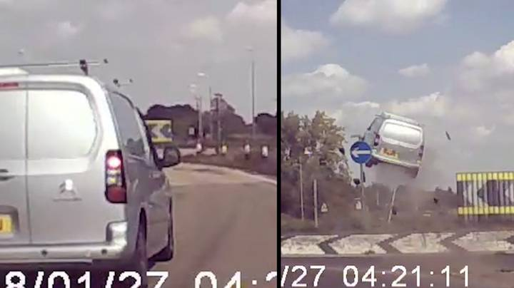 Terrifying Dashcam Footage Shows Van Launch 12ft Into Air After Hitting Roundabout