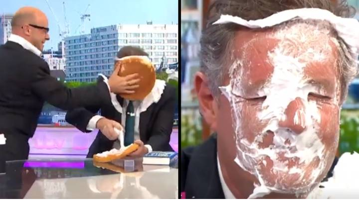 Piers Morgan Has Pie Thrown In His Face By Harry Hill On Behalf Of 'Dads Who Wear Papooses'