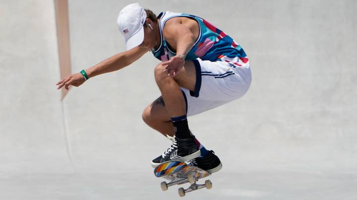 Jagger Eaton Skateboards While Wearing Air Pods At Tokyo Olympics