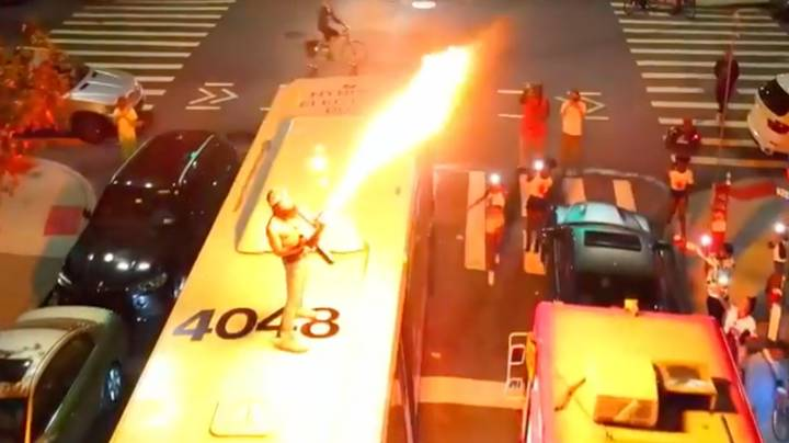 Police Investigating Man Who Used Flamethrower On Top Of A NYC Bus