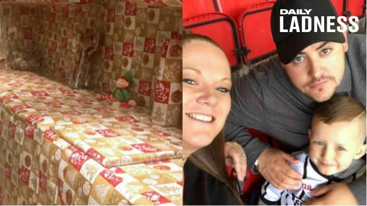 Dad's Elf On The Shelf Prank Sees Him Cover Entire Kitchen In Wrapping Paper
