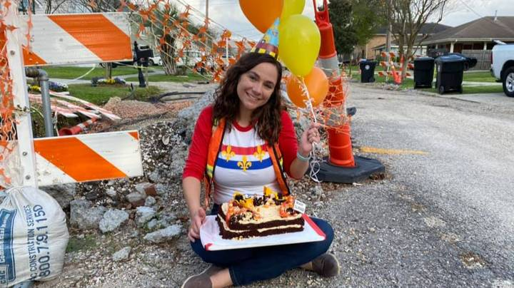 Woman Celebrates One Year Anniversary Of Road Works In Her Street