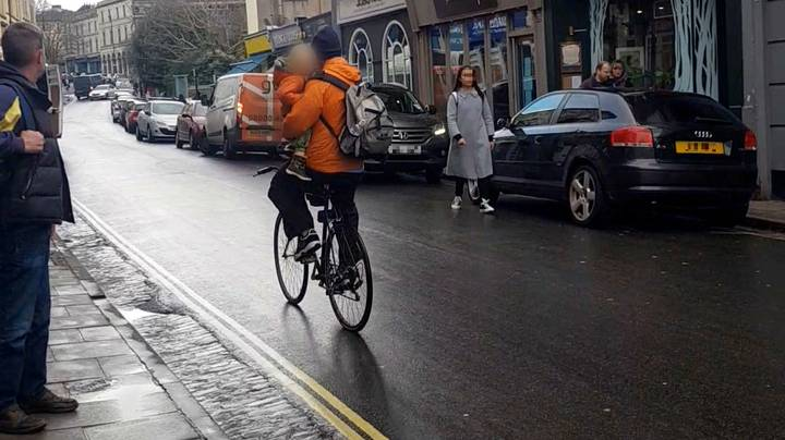 Man Filmed Cycling And Carrying A Child One-Handed Down Bristol Road