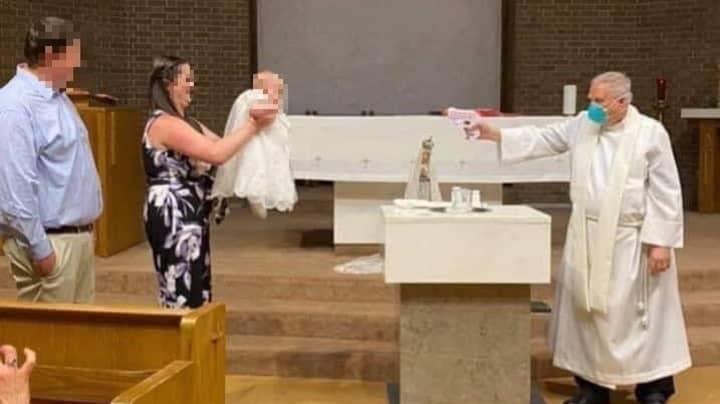 Priest Uses Water Pistol To Baptise Baby During The Coronavirus Pandemic