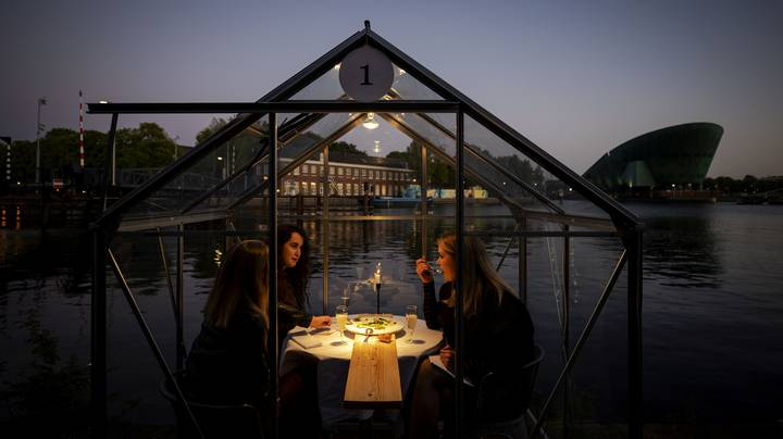 People Dine In Private Greenhouses At Amsterdam Restaurant