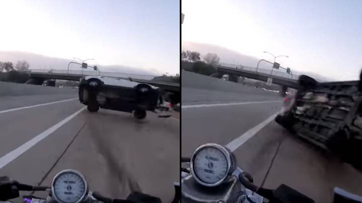 Motorcyclist Sent Flying By Horrific SUV Crash Narrowly Escapes Serious Injury