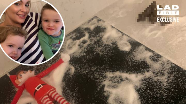 Mum Does Elf On The Shelf Snow Angels Prank Which Her Cat Uses As A Litter Tray