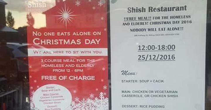 A Restaurant Is Opening Its Doors On Christmas Day For The Elderly, Lonely And Homeless