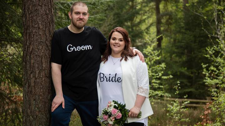 Couple Don Skinny Jeans And Personalised T-Shirts For Wedding To Help Save £13k