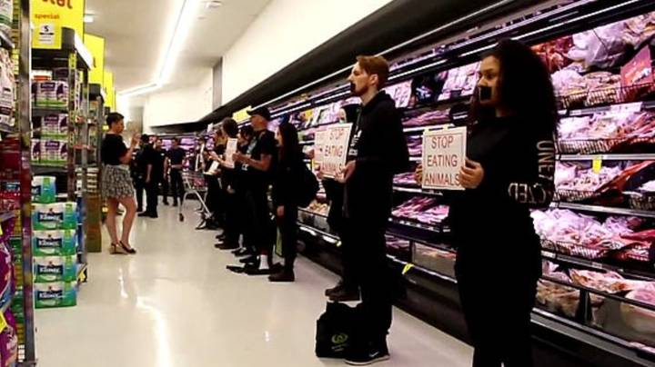 Vegan Protestors Storm Supermarket And Try To Stop Customers From Buying Meat