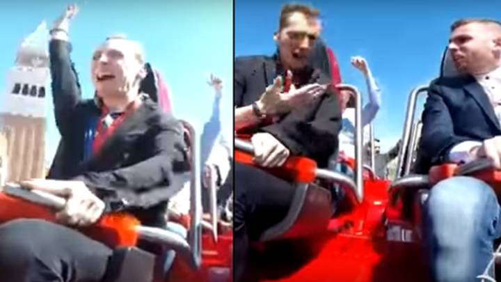Pigeon Flies Straight Into The Face Of A Man On A Rollercoaster