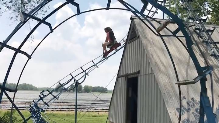 Theme Park Enthusiasts Try Out Awesome 180ft Back Yard Roller Coaster