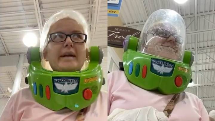 Woman Wears Buzz Lightyear Helmet To Shop Because She Doesn't Have A Face Mask