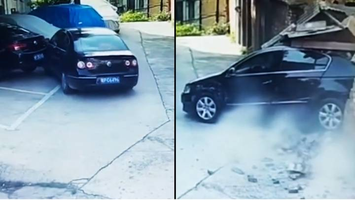 Driver Smashes Into Three Cars Then Knocks Down Wall