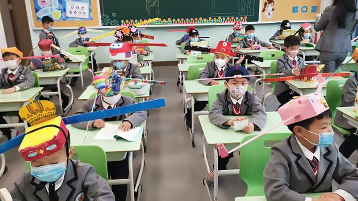 Students In China Wear Homemade Social Distancing Hats As They Return To School