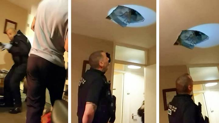 Footage Shows Hiding Suspect Falling Through Ceiling Onto Police Officers