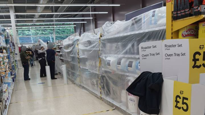 'Non-Essential' Items Covered Up In Welsh Supermarket