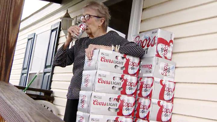 Woman, 93, Gets 150 Cans Of Beer Delivered To Her Door After Holding Up 'I Need Beer' Sign
