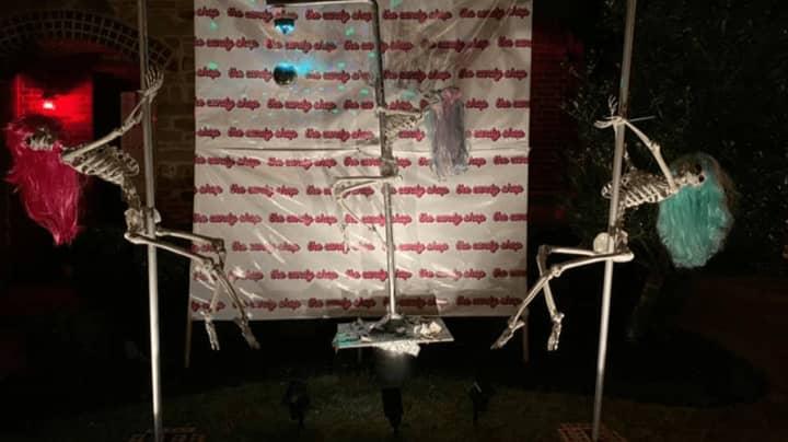 Homeowner Sparks Outrage After Creating Skeleton Strip Club In Her Garden