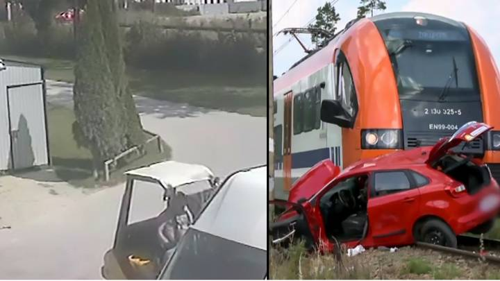 Driving Test Instructor Runs Out Of Car Before Teen Is Hit By Train