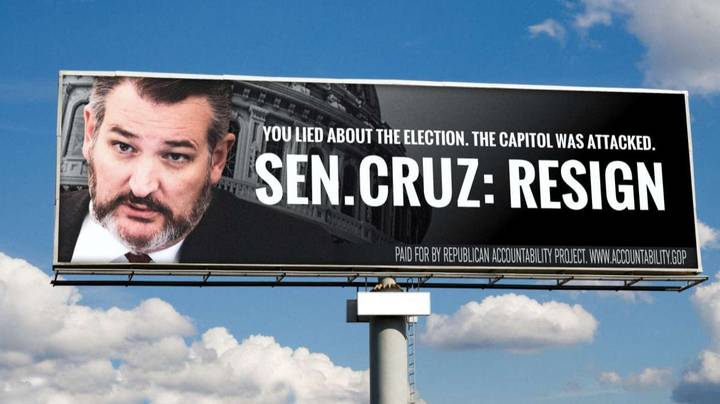 Ted Cruz Hits Out At Billboard Campaign Calling For His Resignation