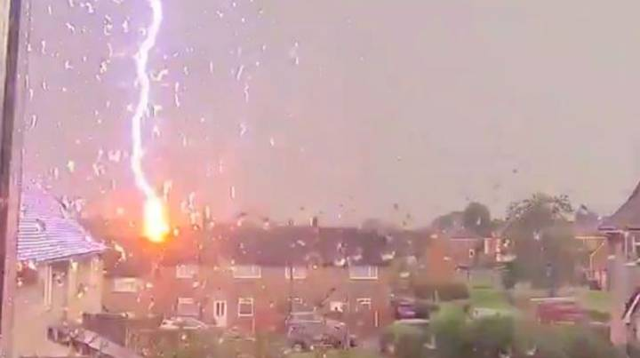 Terrified Woman Films Moment Lightning Strikes House In Middle Of Thunderstorm