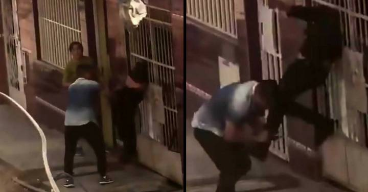 Bungling Thief Gets Stuck In Railings During Getaway