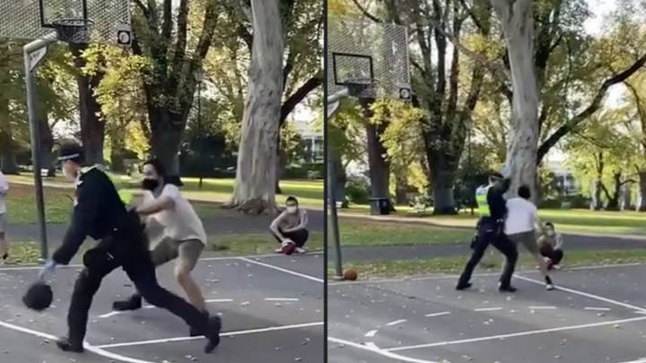 Melbourne Cop Called To Break Up Basketball Game During Lockdown But Joins In Instead