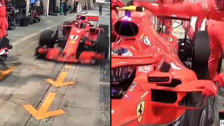F1 Driver Kimi Raikkonen Runs Over Pit Crew Member's Leg