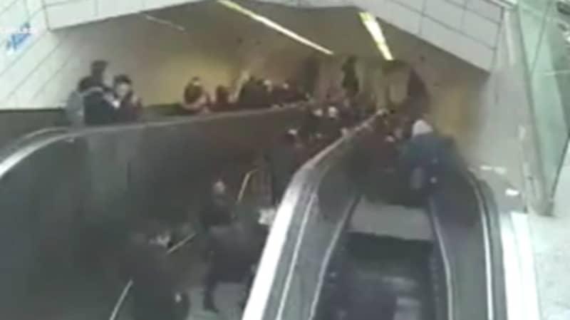 Man Falls Into Broken Escalator When It Opens Up Beneath Him